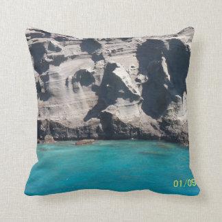 Big Island of Hawaii Green Sand Beach American MoJ Throw Pillow