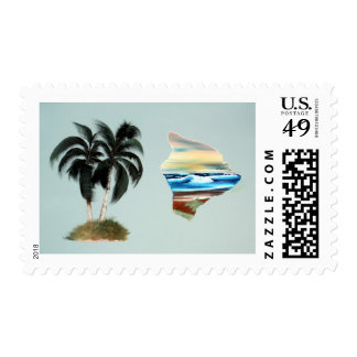 Big Island & Palm Trees Oil Painting Postage Stamp