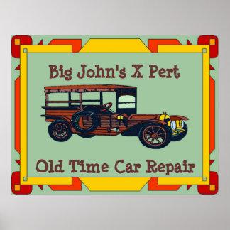 Big John's X-Pert Old Time Car Repair Print