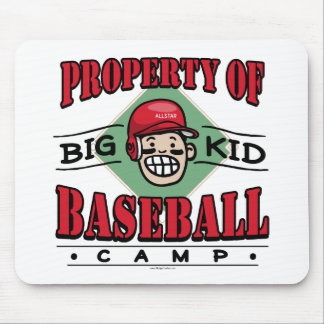 Big Kid Baseball Camp Black Red Mouse Pad