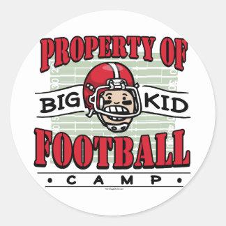Big Kid Football Camp Round Stickers