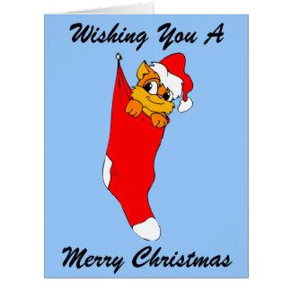Big Kitten In Christmas Stocking Card