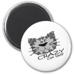 Big Kitty Face Crazy Cat Lady Refrigerator Magnets