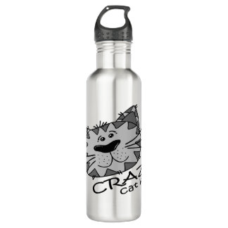 Big Kitty Face Crazy Cat Lady Water Bottle