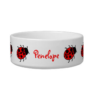 Big Lady Bugs Images Personalized Cat or Dog Bowl