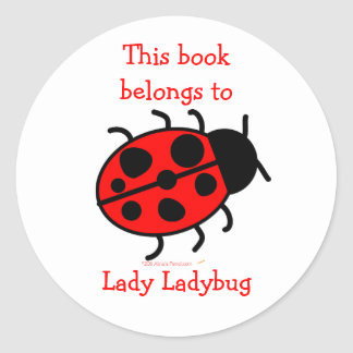 Big Ladybug Cute Bookplate Label Stickers for Kids