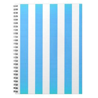 Big light blue strips white vertical pattern fun spiral notebook