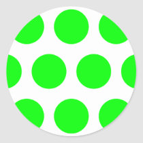 Big Lime Polka Dots Classic Round Sticker