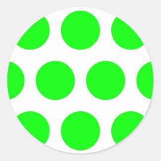 Big Lime Polka Dots Classic Round Sticker