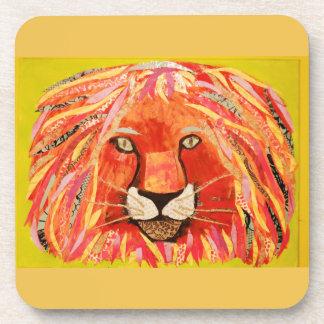 Big Lion Hard Plastic Coasters/Cork Back (6) Drink Coaster