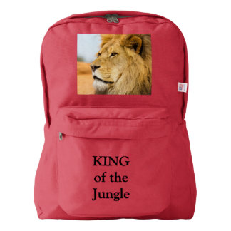 Big lion looking far away backpack
