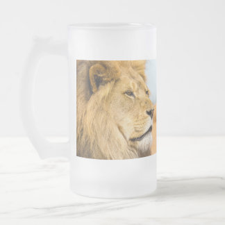 Big lion looking far away frosted glass beer mug