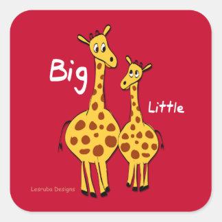 Big Little Giraffe Square Sticker