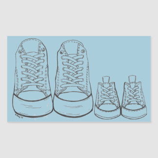 Big Little Sneakers Blue Baby Boy Shoes Stickers