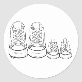 Big Little Sneakers Shoes New Arrival Baby Parents Classic Round Sticker