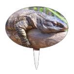 big lizard on log close up cake picks