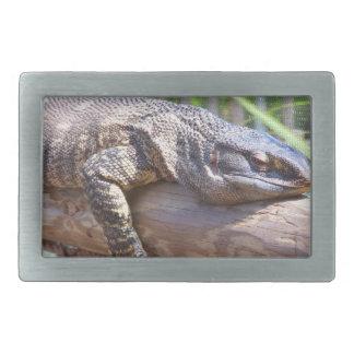 big lizard on log close up rectangular belt buckle