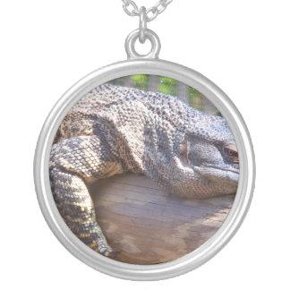 big lizard on log close up round pendant necklace