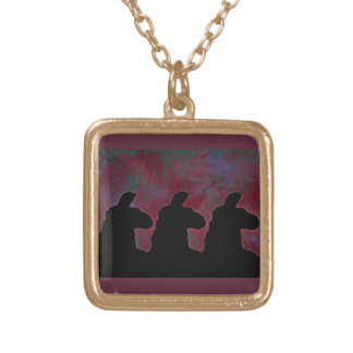 Big Llama Silouette With Maroon, Green & Blue Gold Plated Necklace