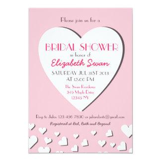 Big Love Heart Pink Bridal Shower Invitation
