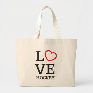 Big LOVE Hockey Large Tote Bag