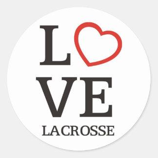 Big LOVE Lacrosse Classic Round Sticker