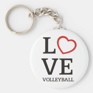 Big LOVE Volleyball Basic Round Button Keychain