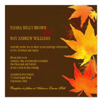 Big Maple Leaves Chocolate Brown Wedding Card