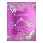 BIG Masquerade Quinceanera 15th Party Pink Tiara Custom Invites