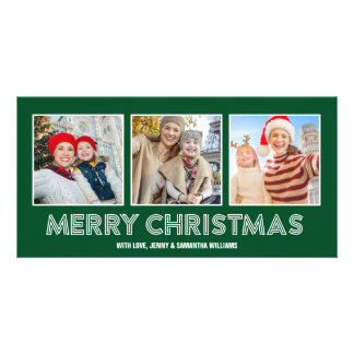 Big Merry Christmas 3 Instagram Photo Card Green