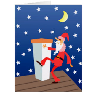 Big Merry Christmas Funny Santa On The Roof Card