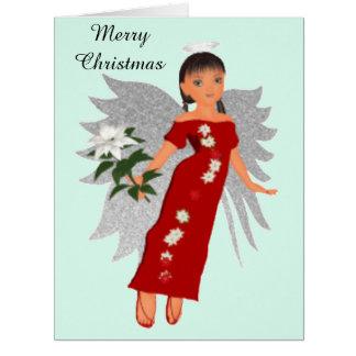 Big Merry Christmas Rose Angel Card