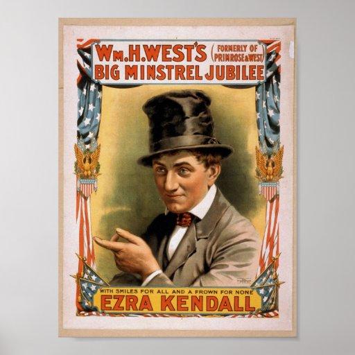 Big minstrel Jubilee, 'Ezra kendall' Vintage Theat Posters