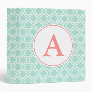 Big Mint Monogram Scrapbook School Binder