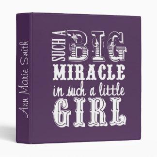 Big Miracle, Little Girl-Purple Baby Book Binder