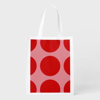 Big Mod Festive Red Pink Polka Dots Holiday Reusable Grocery Bag