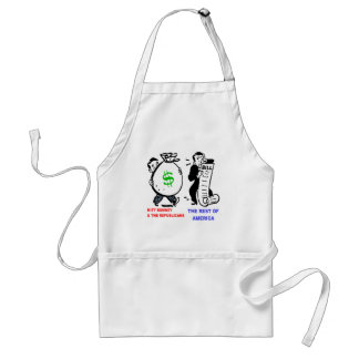 Big Moneybags Mitt Romney versus average Americans Adult Apron