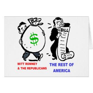 Big Moneybags Mitt Romney versus average Americans Greeting Card