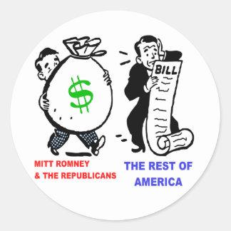 Big Moneybags Mitt Romney versus average Americans Classic Round Sticker
