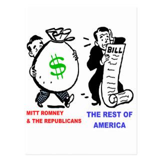 Big Moneybags Mitt Romney versus average Americans Postcard