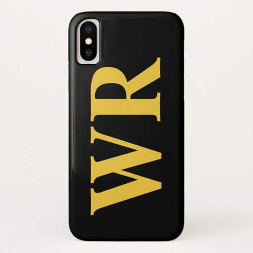 Big Monogram Letters Yellow and Black Bold Style Phone Case