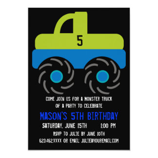 "Big Monster Truck Birthday Party Invitations 5"" X 7"" Invitation Card"
