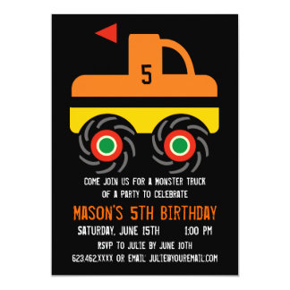 Big Monster Truck Birthday Party Invitations