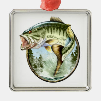 Big Mouth Bass Jumping Metal Ornament