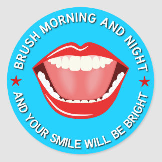 Big Mouth Bright Smile Dental Round Stickers Round Stickers
