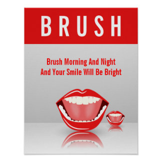 Big Mouth BRUSH Dental Dentist Poster