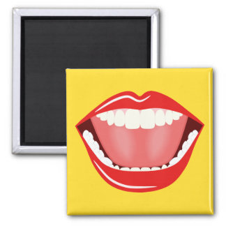 Big Mouth Cool Humor Funny Square Magnet