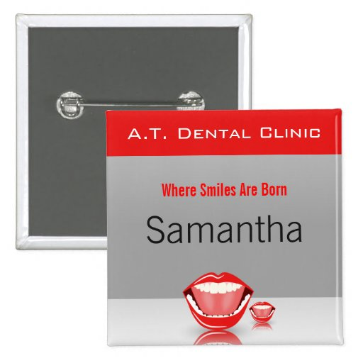 Big Mouth Dental Dentist Name Tags Square Buttons Pins