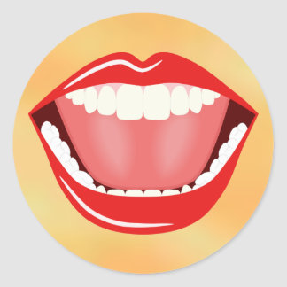 Big Mouth Funny Cool Laughing Round Stickers