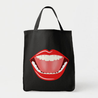 Big Mouth Funny Smiling Fun Grocery Tote Bags